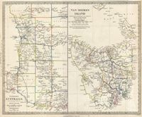 This is a historical map of Tasmania from the year 1849.