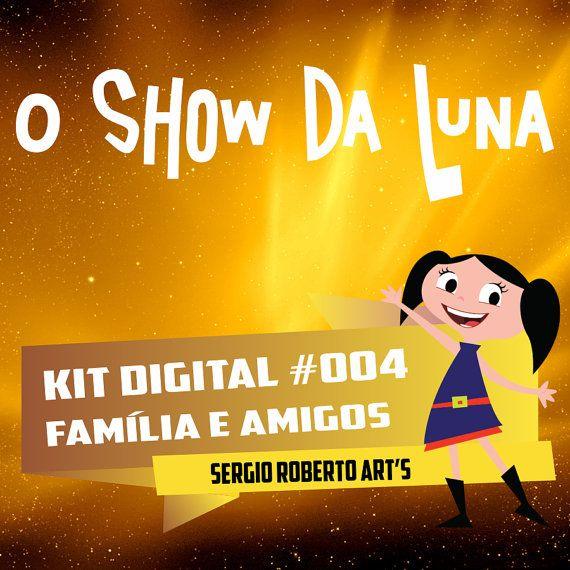 EARTH TO LUNA ( theme Family )  El mundo de Luna O Show da Luna Kit Scrapbook Digital Papers and Elements Cliparts 300 dpi Instant Download