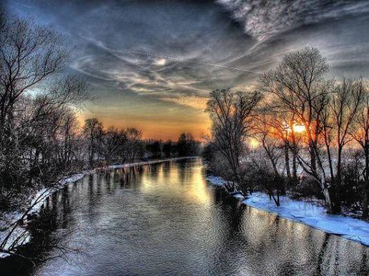 zimní obrazy, západ slunce tapety, nebe vektor, říční zázemím, hdr materiál