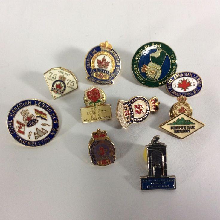 Legion Pins Regional Canadian Lot 12- Set of 10 Pins 75th Woodstock Rose City
