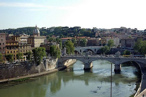 Rome, chateau Saint-Ange, panorama sur le Tibre
