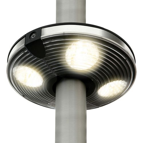 LED Parasol Light  4 LED parasol light clamps on to the centre pole of your garden umbrella and provides bright light after dark.