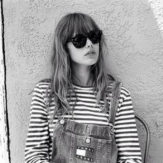 ||FASHION|| summer cool - dungarees with stripes top - rayban sunglasses - hipster