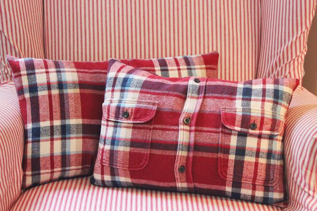 Happy At Home: From Flannel Shirt to Pillow Cover - A Tutorial  Good to do with a special person's clothing :)