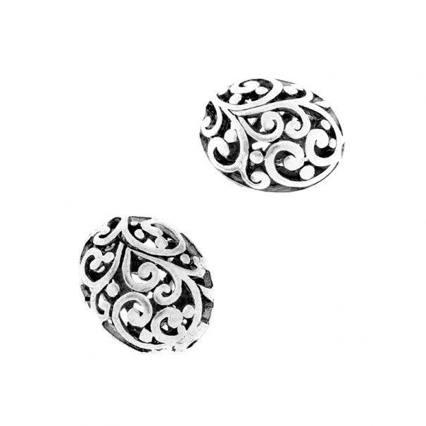 Owalne ażurowe metalowe koraliki do biżuterii antyczne srebro 1szt 16x13x11mm AAS588