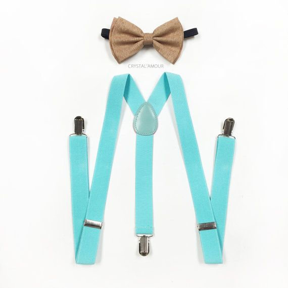 tan bowtie vintage bowtie tiffany blue suspenders by crystalAmour