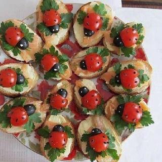Tartine coccinelle: Idea, Recipe, Cream Cheese, Food, Smoke Salmon, Ladybugs, Cherries Tomatoes, Lady Bugs, Olives