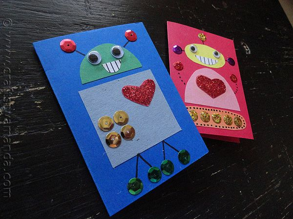 Make cute Robot Valentines from CraftsbyAmanda.com @Amanda Formaro