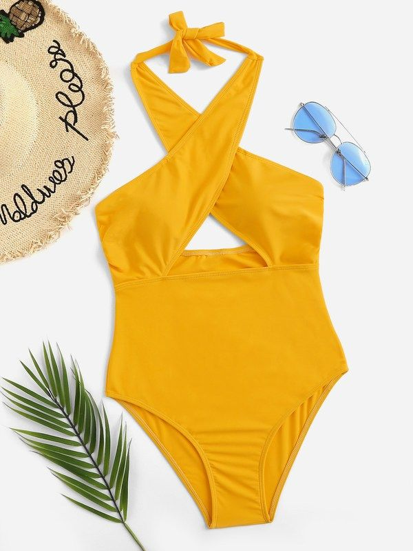 7581fa5add9 #ad Criss Cross Low Back One Piece Swimsuit. Price: $16.00. Yellow  Polyester Plain One Pieces & Monokinis Criss Cross Swimwear.