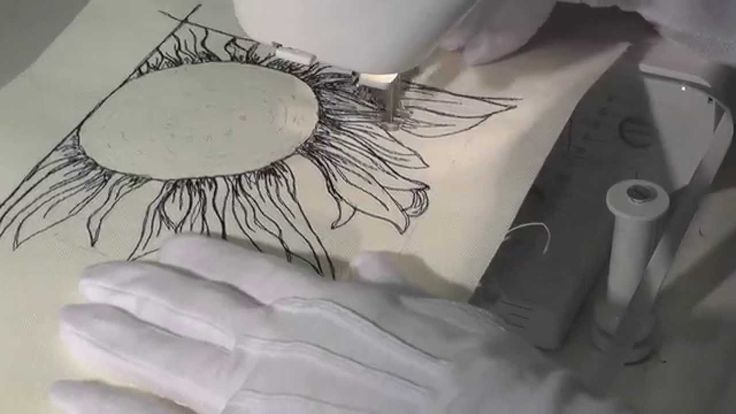 Thread Sketching in Action -  No 1 -  Sunflower. Thread sketching in Action offers 52 weeks of thread sketching, thread painting and free motion designs, as they are created on a domestic sewing machine. These demonstrations form an ongoing collection of ideas for stand-alone thread-sketched pictures and ideas for quilting larger works.