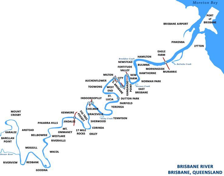 Brisbane River map -