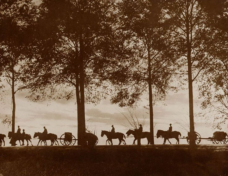 """Limbers carrying up ammunition at sunset."" IMAGE: FRANK HURLEY/STATE LIBRARY OF NEW SOUTH WALES"