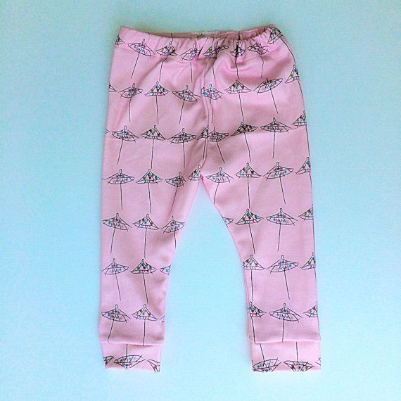 Drink Umbrella 100% Organic Cotton Baby Leggings by PalmRowPrints made in the USA