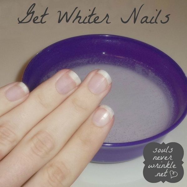 Get whiter nails:   1/2 cup HOT water in a bowl. 4 tablespoons baking soda and disolve in water Add 2 tablespoons of peroxide Soak nails for about a minute Voila! No more stained nails!
