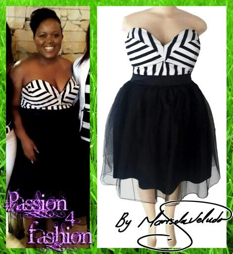 A 2 piece black and white smart casual wear. A slightly poofy tulle skirt with a boobtube sweetheart  fitted bodice top. For a 21st.  #mariselaveludo #smartcasualwear #black&white #passion4fashion