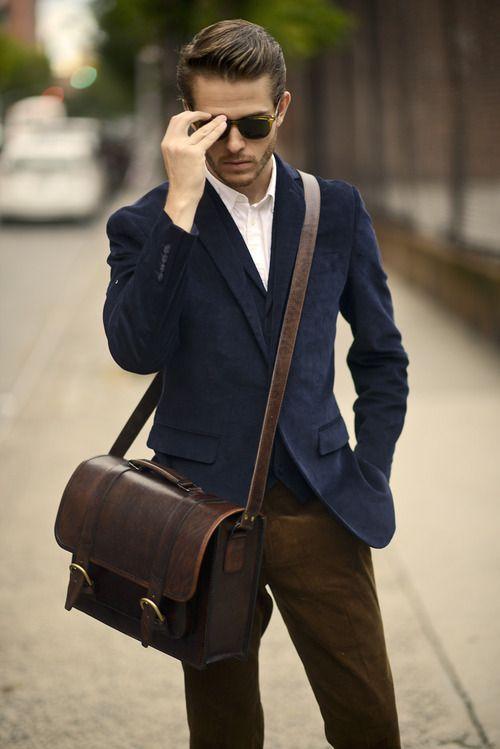 Navy blazer + white dress shirt + olive pants + leather messenger bag