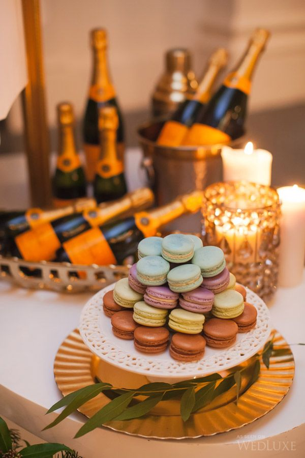 Macarons and champagne toasts | Overflowing with champagne, everything about this styled shoot says holiday celebration!