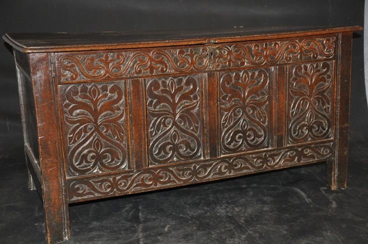 17TH CENTURY ENGLISH OAK COFFER17TH CENTURY CARVED OAK COFFER