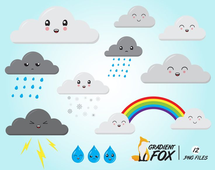 Weather Clipart Pack - Rainy Wheather Graphics - Digital Scrapbook Rainbow - Cloud illustration - INSTANT DOWNLOAD by…