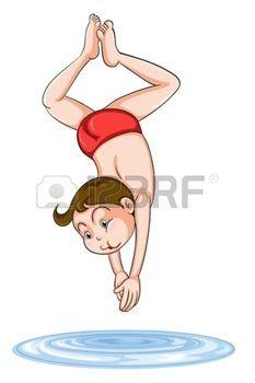 nuotatore: illustrazione di un ragazzo di immersione in acqua su uno sfondo bianco