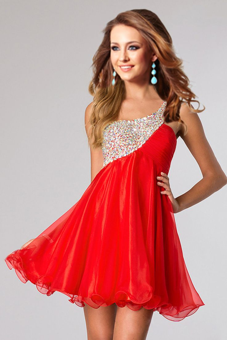 2015 One Shoulder Homecoming Dresses A Line Empire Waist Short/Mini Chiffon With Beads And Ruffles