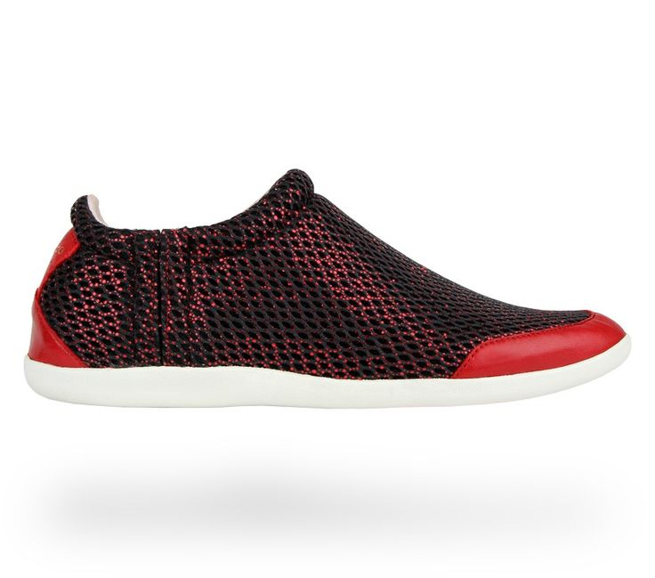 Runners 'Sciolto': Black and Flammy red Calfskin and Mesh. #Repetto #RepettoSneakers #RepettoRunners