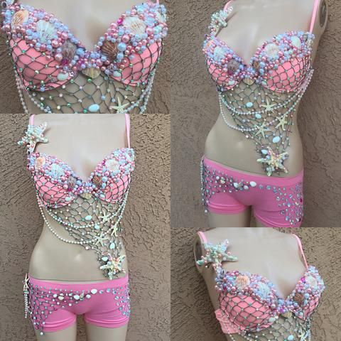 Pink Mermaid Rave Bra and Matching Bottoms