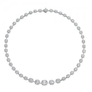 Beautiful Cushion Cut, with Halo Diamond Necklace