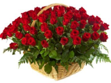 "Букет ""Корзина красных роз"". Корзина из 101 красной розы. (Голландия)"