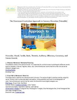 In this PDF, we will go a little into the Montessori curriculum approach to sensory education and we share a printable sheet for you to download and use in your environments. Maria Montessori categorized the Exercises into nine different groups. These are Olfactory, Visual, Auditory, Gustatory, Muscular, Tactile, Baric, Thermic and Stereo Gnostic.