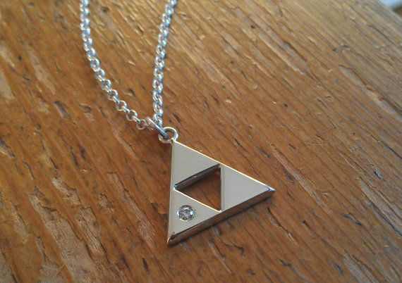 Sterling Silver Triforce Pendant with a 2mm Moissanite