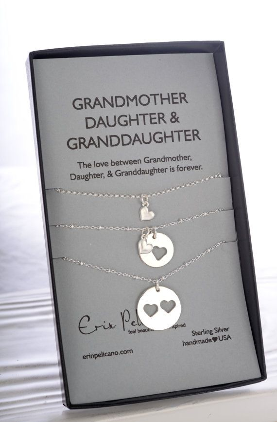 Mother, Daughter and Grandma Necklace Set, Grandmother Jewelry. Bridal Party Gift. Mother of the Bride Gift. Inspirational Sterling Silver