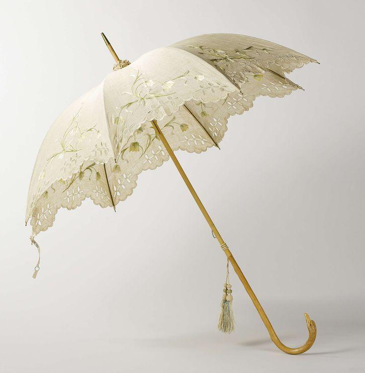 Parasol met dek van écrukleurig linnen met borduurwerk op een stok van licht hout met knop in de vorm van een vogelkop, Anonymous, c. 1905 - c. 1910