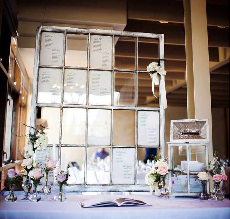Caroline Ross Photography Vintage window as seating chart #unforgettableweddings #weddingdecor #decor https://www.carolinephotography.ca/lavender-and-pastel-wedding/ http://nearnature.ca