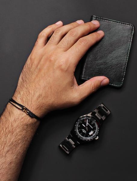 Infinity Bracelet Black Cord Men S With Gold Clasp