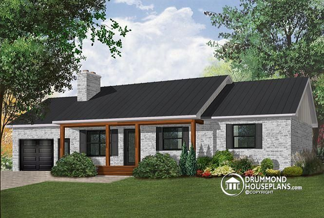 W4240 affordable 3 bedroom bungalow house plan with for Plan maison bungalow avec garage