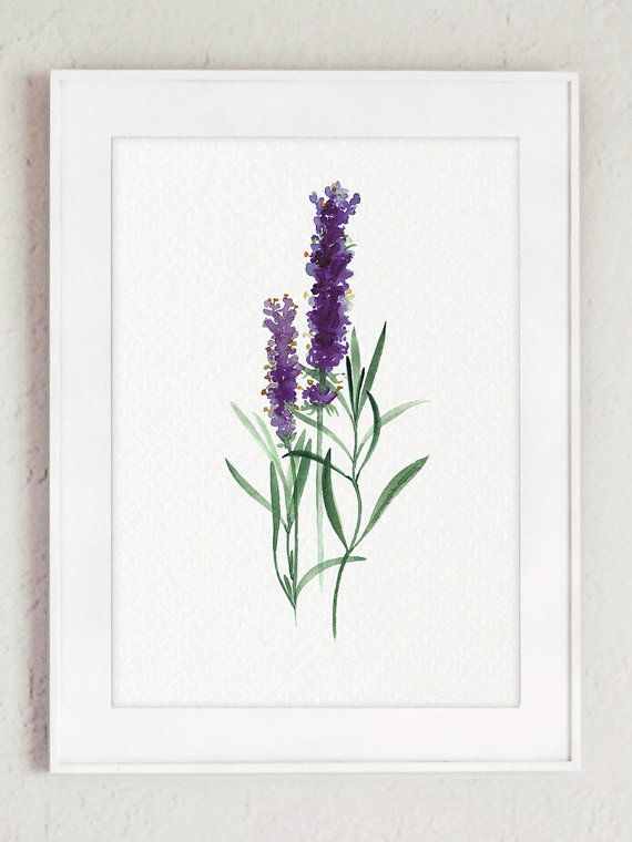 Lavender Herb Art Print Green Kitchen Decor Abstract Flower Watercolor Painting Nature Home