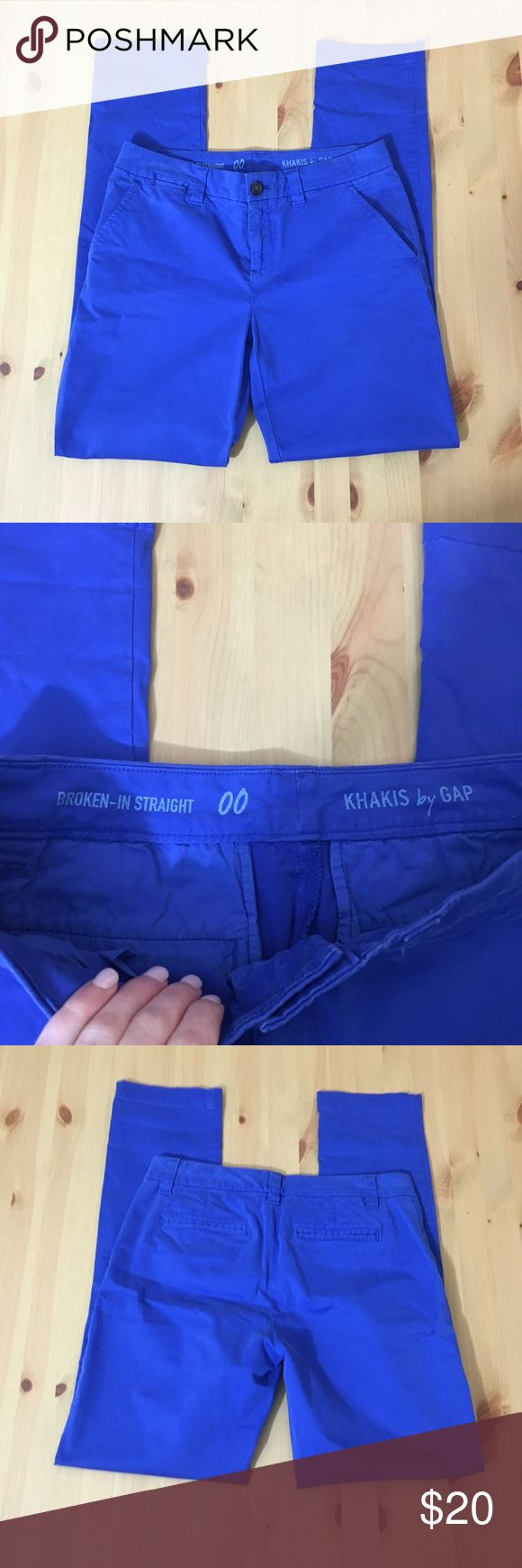 """GAP """"Broken in Straight"""" Royal Blue Khakis EUC! """"Broken in Straight"""" royal blue khaki pants. 29"""" inseam, 9"""" rise. Size 00. I'm a speedy shipper and we have a smoke free home! Measurements upon request. I'm always open to reasonable offers. GAP Pants Straight Leg"""
