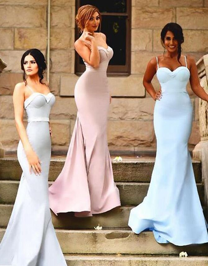Sweetheart Sweep Train Mermaid Bridesmaid Dress with Sash Ruffles Spaghetti Straps,Sexy prom dress,Fishtail dress