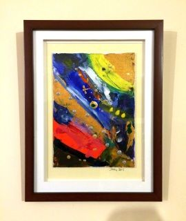 """Artist: Dermot Daly  Abstract design on Framed Canvas Board. Contemporary, Vibrant Design.   Titled: """"Untitled""""  An exercise in colour on Canvas Board, with wooden frame and glass.  Size:  Canvas board:  10 X 7 inch. (18 X 25 cm) Wooden Frame : 15 X 11.5 inch. (38 X 29 cm)  Back of frame has string: ready to hang.  Painting would suit a modern, stylish setting.  The photograph does not do the Painting Justice. With final Varnishing: The Painting really """"POPS"""" and will brighten and bring…"""