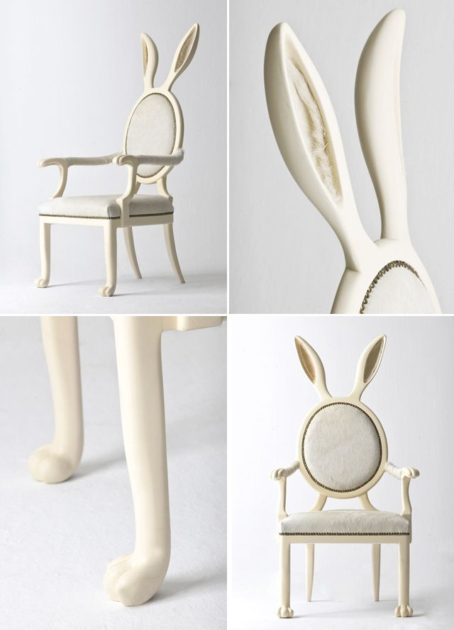 I want the this chair really badly. HYBRID No2: HYBRID collection was inspired by the mythologies of parahumans. This anthro chair unions with its owner, merging into one. It is entirely handmade, a special leather has been selected and a lacquered paint finish has been applied on wood to mimic the appearance of a bunny and create an animalistic feeling on the user.