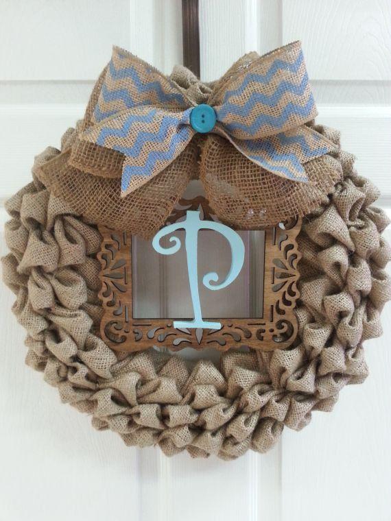 Burlap Wreath, Bubble Burlap, Chevron, Initial, Door Decor, Monogram wreath