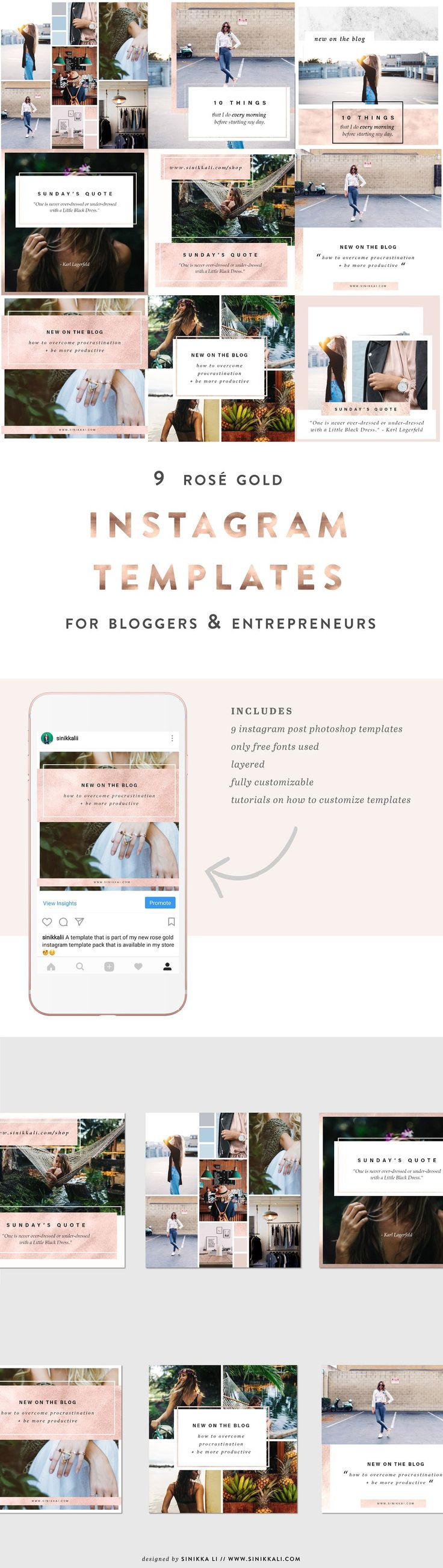 9 Rose Gold Instagram PSD Templates by Sinikka Li on @creativemarket