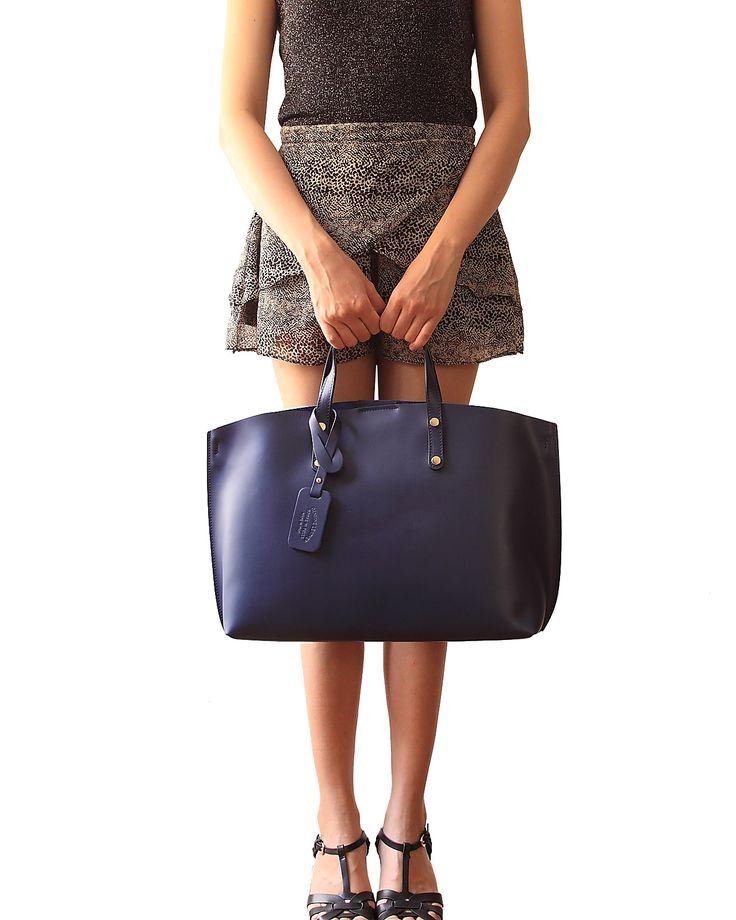 Borsa Shopping Classica in Pelle Blu