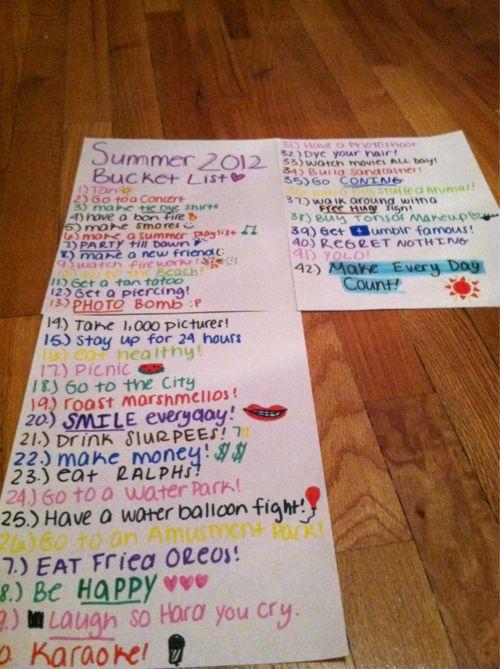 summer bucket list | Tumblr