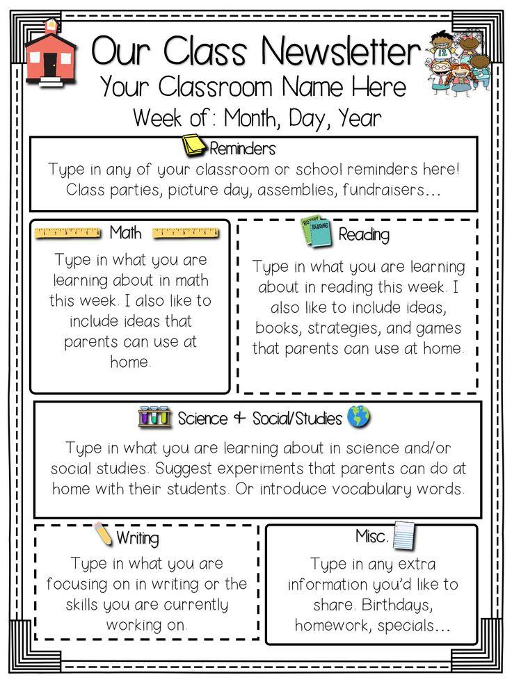 Classroom Newsletter Ideas ~ Ideas about class newsletter on pinterest