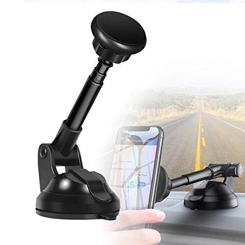 Car Phone Mount,TEXRA Windshield Long Arm Magnetic Car Phone Mount with Anti-Skid Base Car Holder for All Smart Device Like iPhone,Galaxy,IPad etc