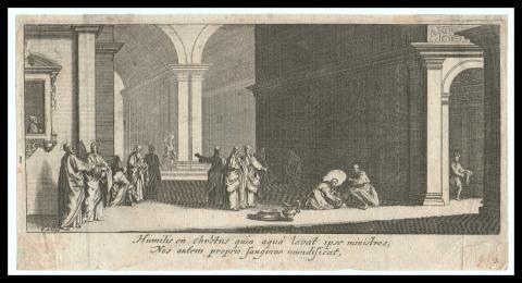 La Lavanda dei Piedi | Callot Jacques (1592 – 1635) | Religious | Ancient Prints 1600