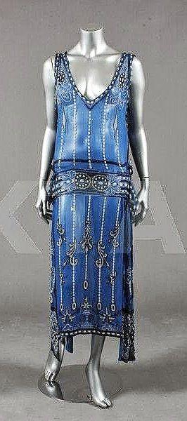 Dress - 1920's - Kerry Taylor Auction - @~ Mlle -- love the colour -- electric blue