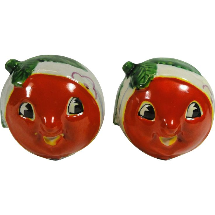 Anthropomorphic Tomato Face w Headbands Salt & Pepper Shakers from headsupvintage on Ruby Lane